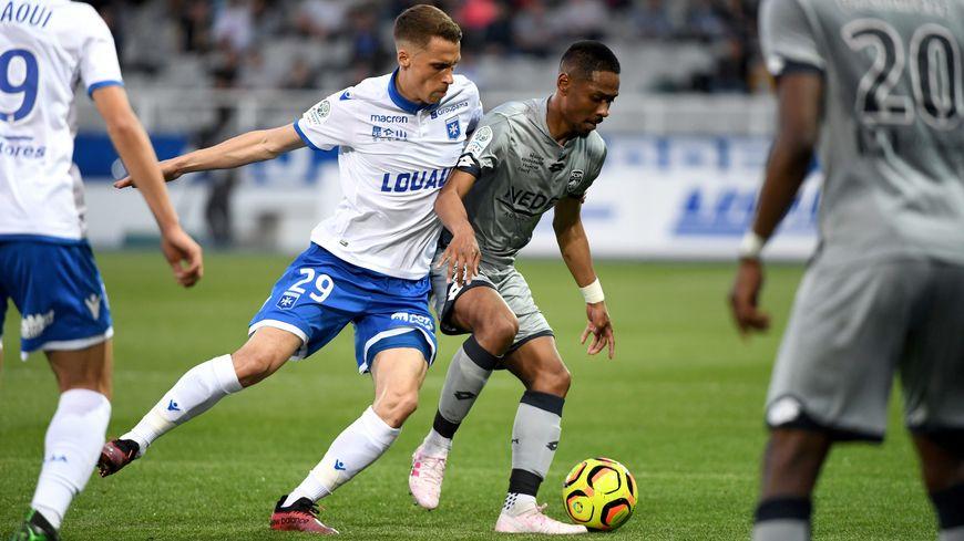 La dernière confrontation entre l'AJA et Sochaux à l'Abbé-Deschamps (1-0), le 19 avril 2019.
