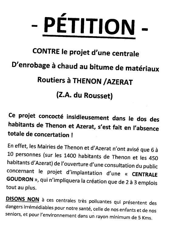 La pétition lancée par les riverains de la zone d'activité du Rousset, ce lundi 13 janvier, contre l'implantation d'une centrale à goudron