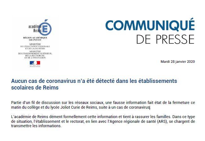 L'académie de Reims contrainte de démentir une rumeur de cas de coronavirus