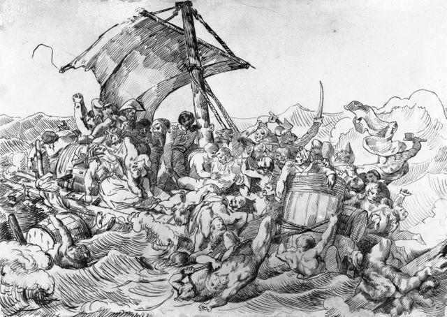 Etude anonyme d'après le Radeau de la Méduse de Géricault