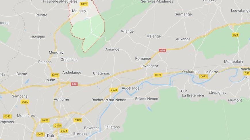 L'accident s'est produit à Moissey, dans le Jura (Google Maps).