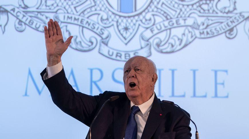 Le maire de Marseille Jean-Claude Gaudin présente ses vœux à la presse pour la dernière fois.