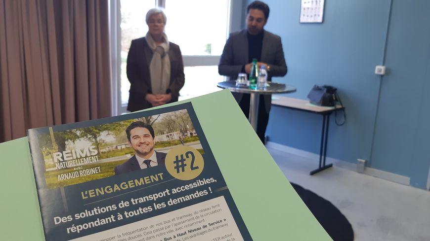 Arnaud Robinet, le maire sortant de Reims, a présenté son 2ème engagement de campagne sur le thème des transports