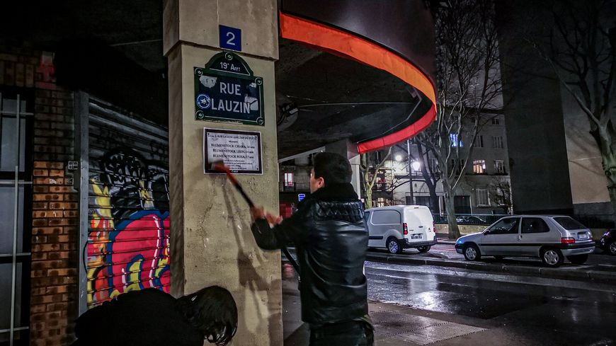 Une action de l'Union des étudiants juifs de France à Paris