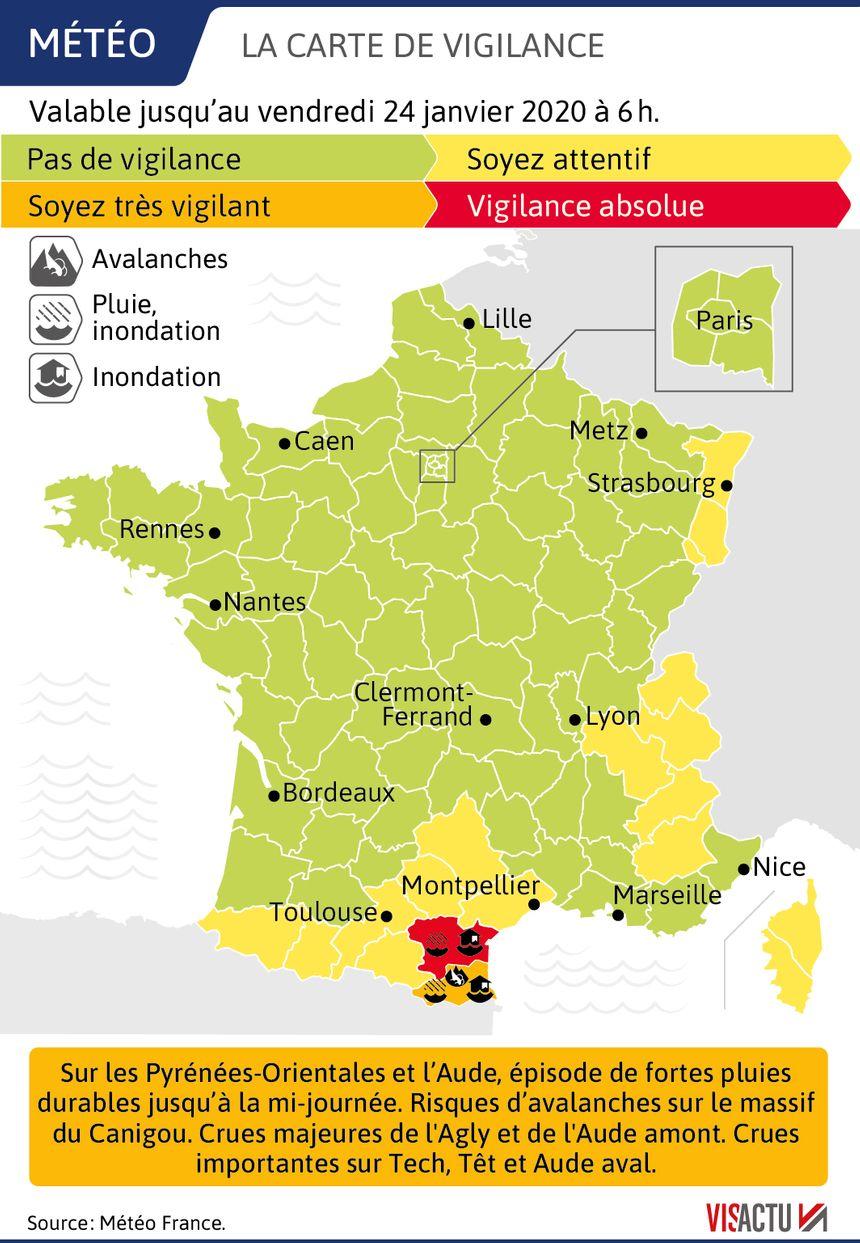 Inondations : l'Aude en vigilance rouge, les Pyrénées-Orientales en orange