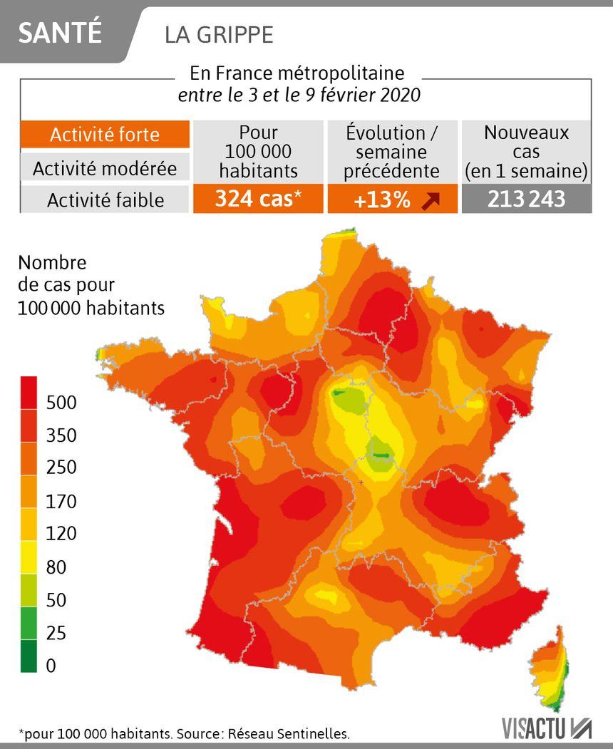 carte epidemie grippe 2020 CARTES   L'épidémie de grippe continue à progresser, toutes les