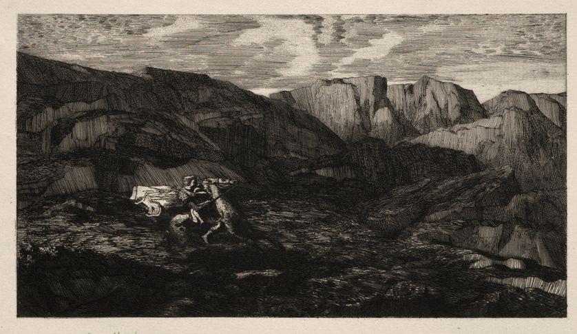 « La Peur », estampe d'Odilon Redon, 1866