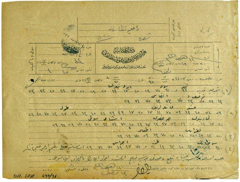 """Illustration issue de l'ouvrage de Taner Akçam """"Ordre de tuer"""" : câble codé de Sükrü, directeur des affaires tribales et d'immigration, 25 septembre 1915"""