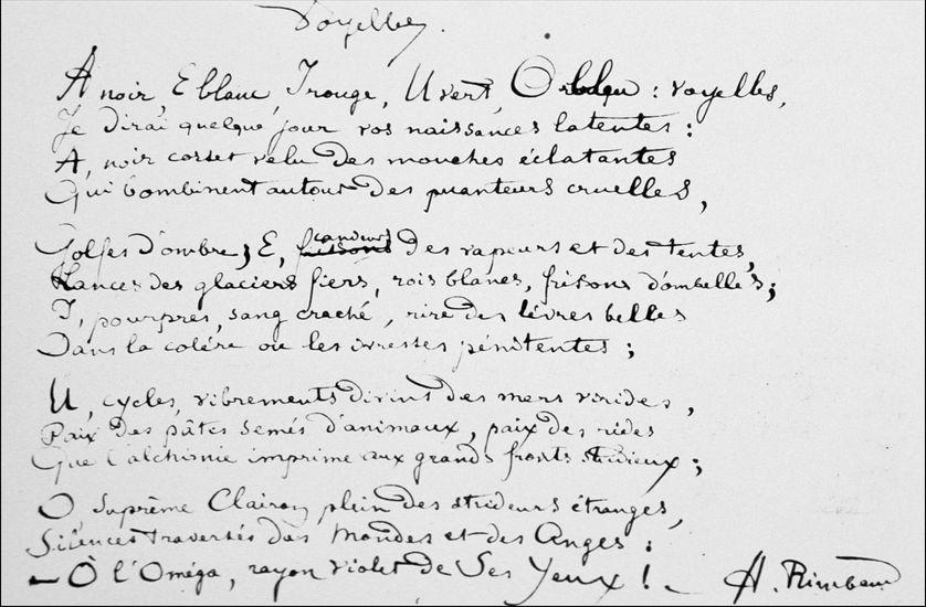 "Rimbaud, ""Voyelles"""
