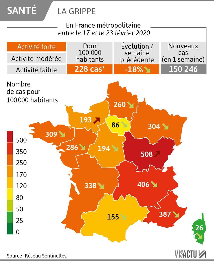 carte epidemie grippe 2020 CARTE   Le pic de l'épidémie de grippe est probablement passé en