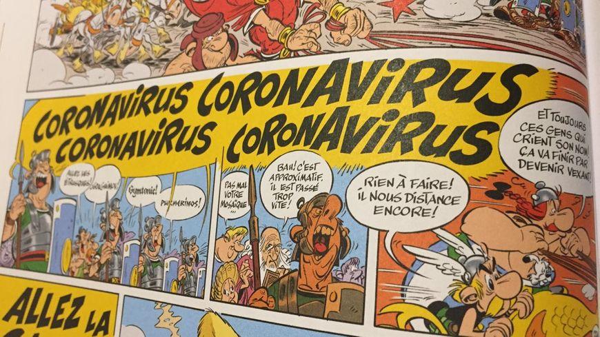"""Le champion romain Coronavirus apparaît dans la BD """"Astérix et la Transitalique""""."""