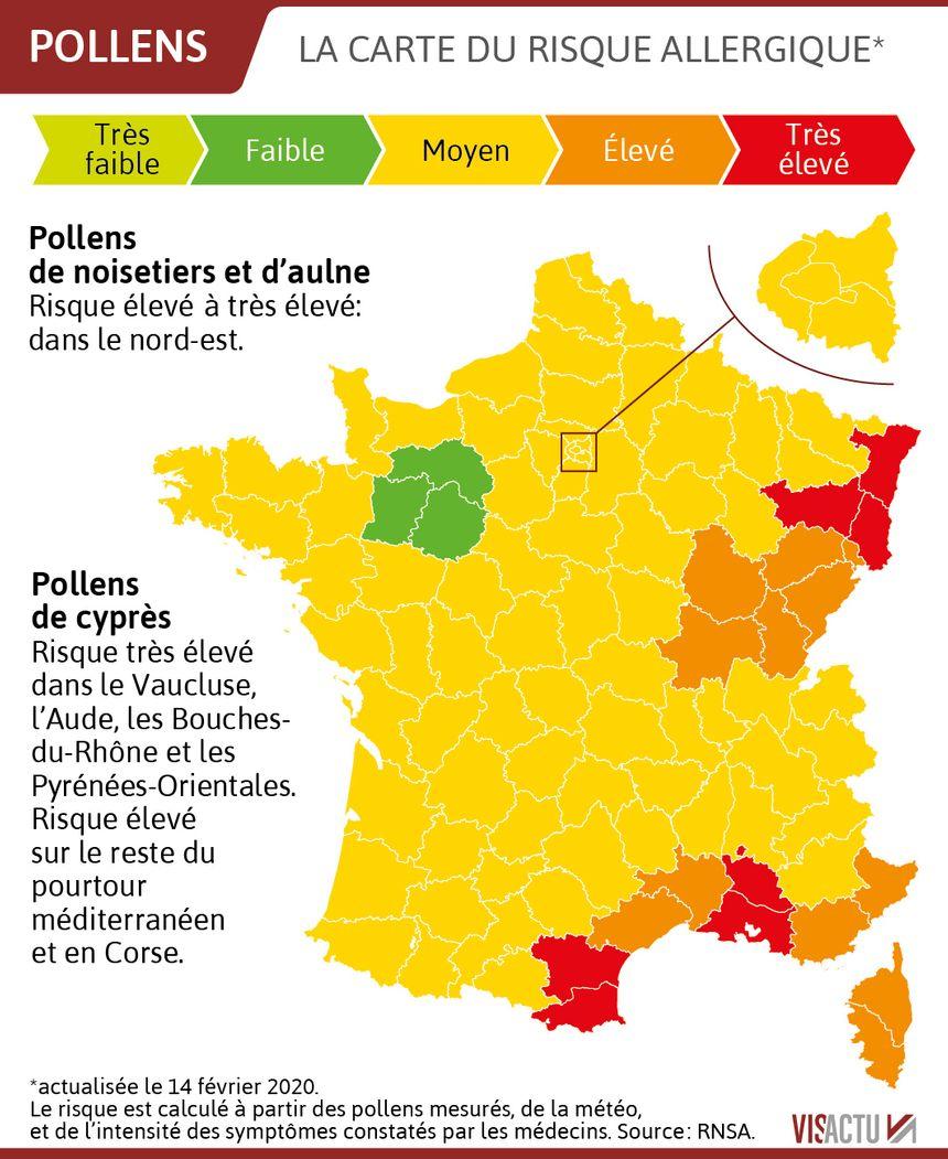 Carte Allergies Les Pollens Sont Deja De Retour Sept Departements En Risque Rouge