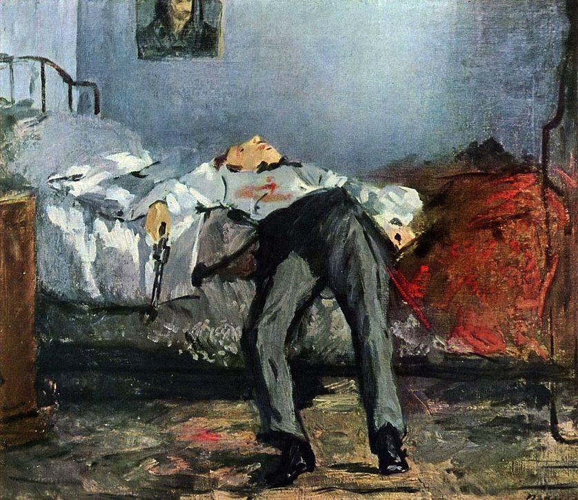 Le Suicidé est un tableau peint par Édouard Manet entre 1877 et 1881. Il fait partie de la collection Emil G. Bührle, à Zurich, en Suisse. Wikipédia