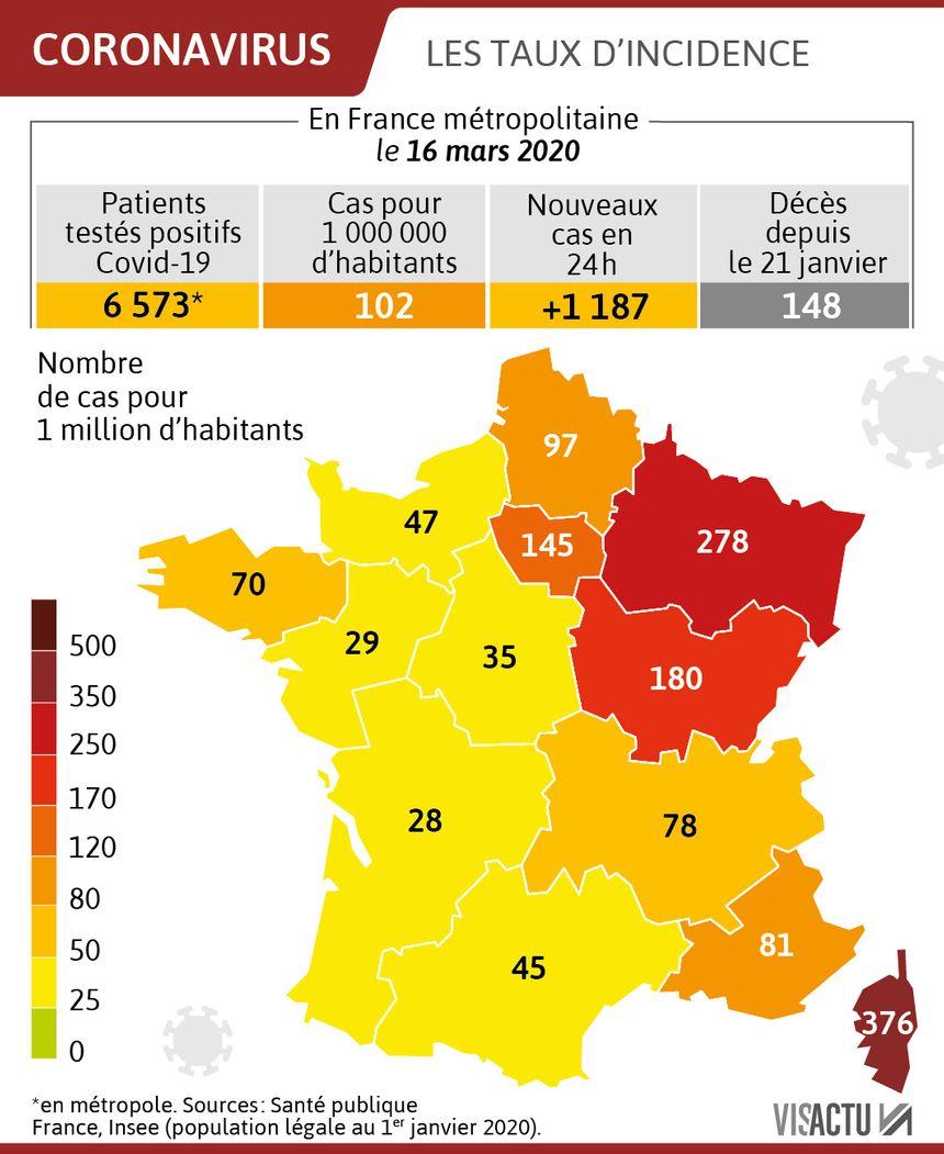 Carte Coronavirus Decouvrez Les Taux De Cas Testes Positifs Par Rapport Au Nombre D Habitants