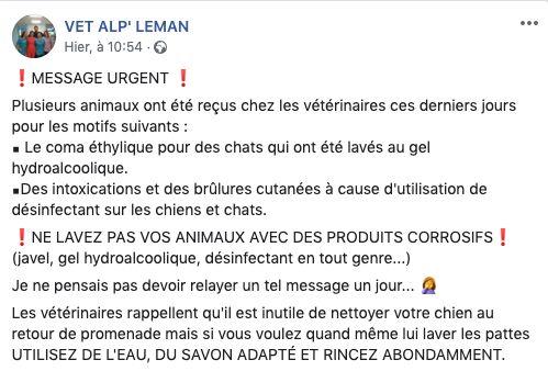 Le cabinet vétérinaire Vet Alp'Léman a publié dimanche une alerte sur Facebook - Aucun(e)