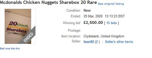 Une boite de 20 nuggets vendue sur ebay - Capture ebay UK