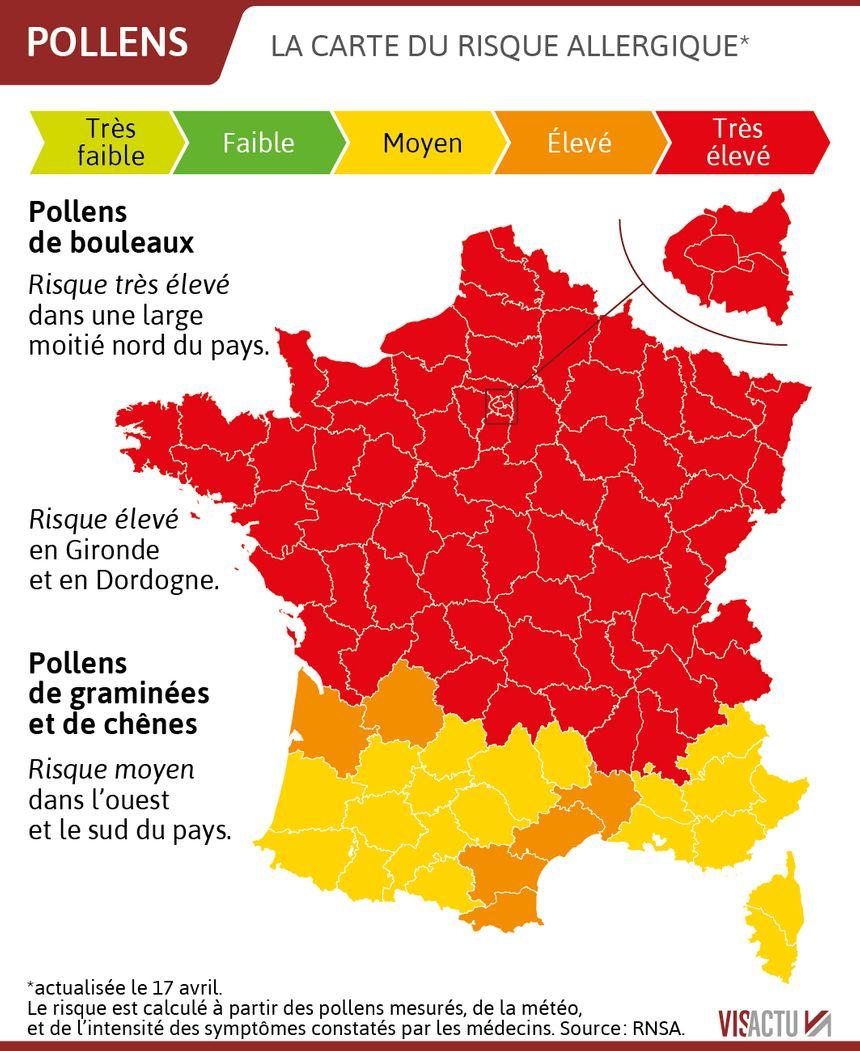 Carte Pollens Le Risque Allergique Tres Eleve Sur La Majeure Partie Du Pays