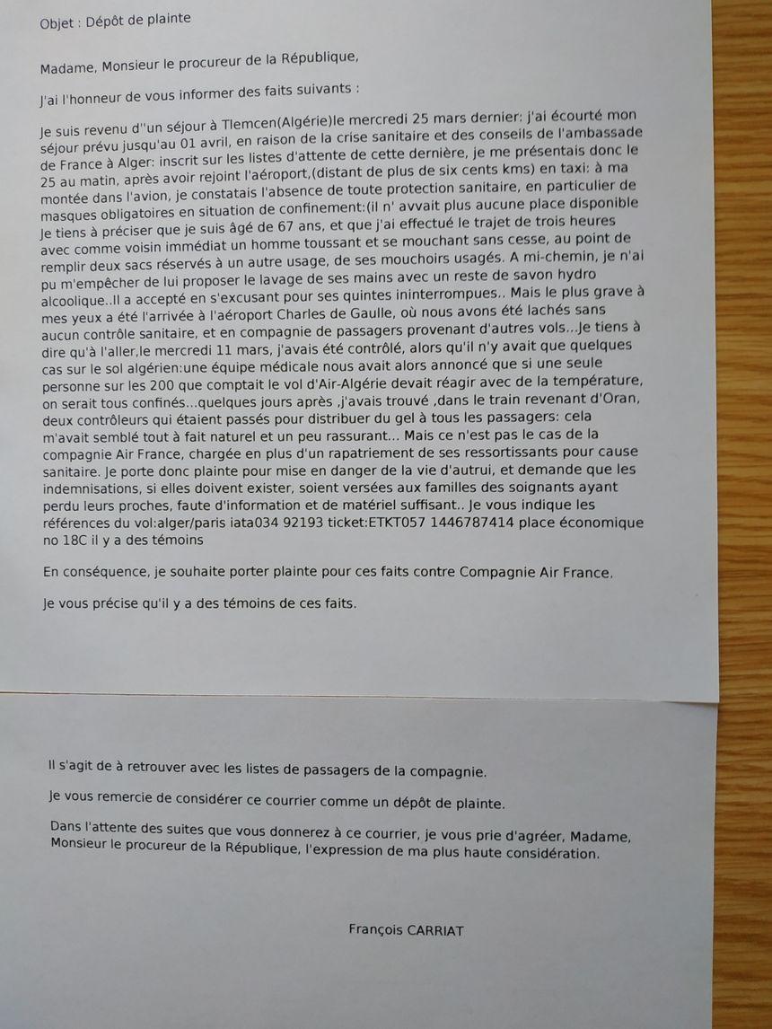 La lettre précisant la plainte - Aucun(e)