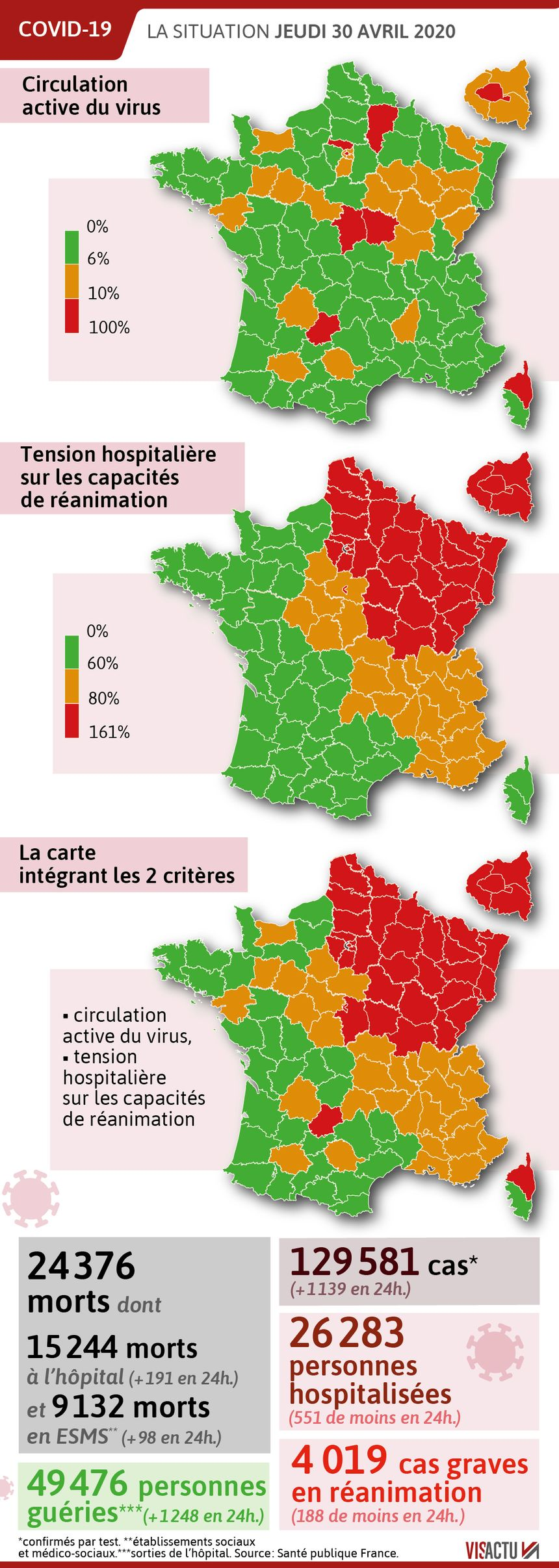 Coronavirus : cartes et chiffres en France, jeudi 30 avril 2020