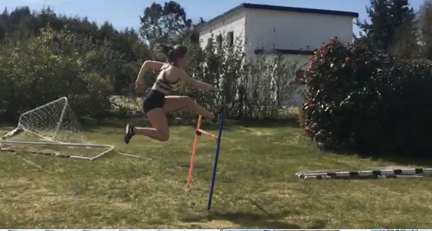 Training on the almost 110 m hurdles in his garden in Lorient