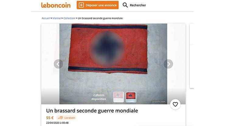 """""""Un drapeau des jeunesses allemandes"""" mis en vente à 250 euros sur le Bon Coin par un """"collectionneur"""" habitant Poitiers."""