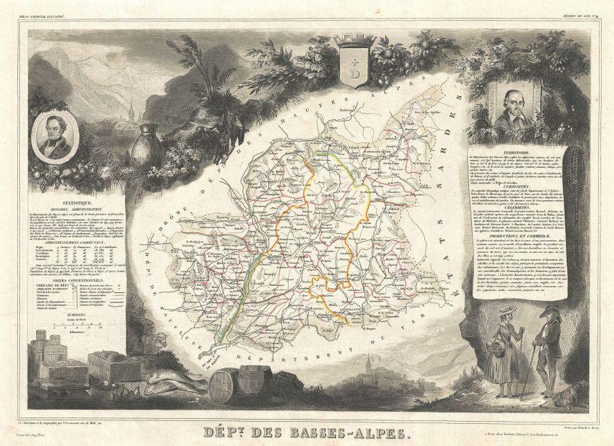 Carte des Basses-Alpes de 1852