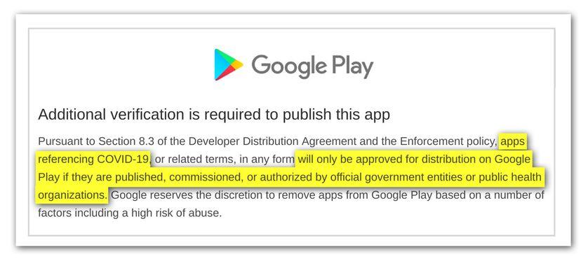 Extrait du mail reçu par de nombreux développeurs de la part de Google suite à la suspension de leur application.