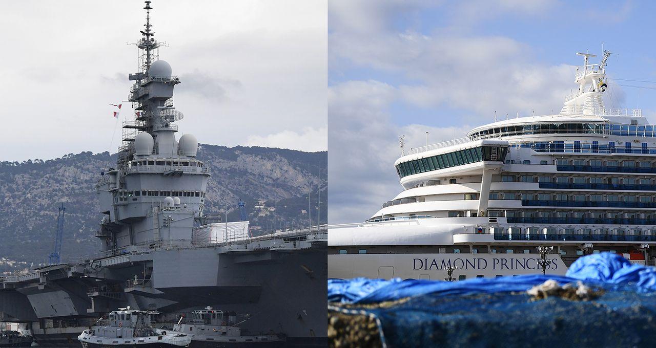 il titolare Charles- De-Gaulle Aircraft e il rivestimento per crociere di Diamond Princess, due navi Hold Hold di Covid-19.