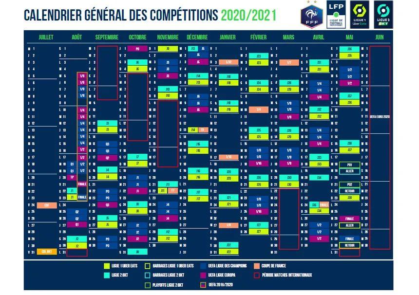 Ligue 1 et Ligue 2 : découvrez le calendrier de la saison 2020 2021