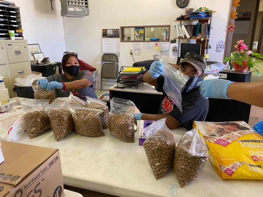Des volontaires préparent des colis alimentaires, notamment pour les personnes âgées et leurs animaux de compagnie.
