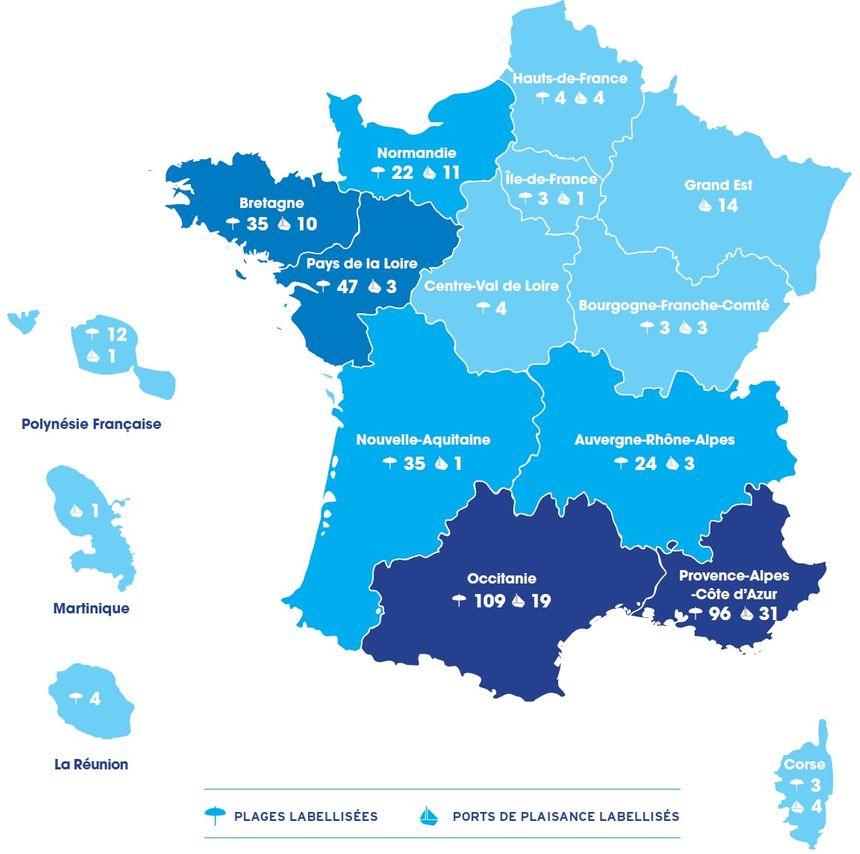Carte Pavillon Bleu 2020 47 Plages Et Trois Ports Labellises En Pays De La Loire