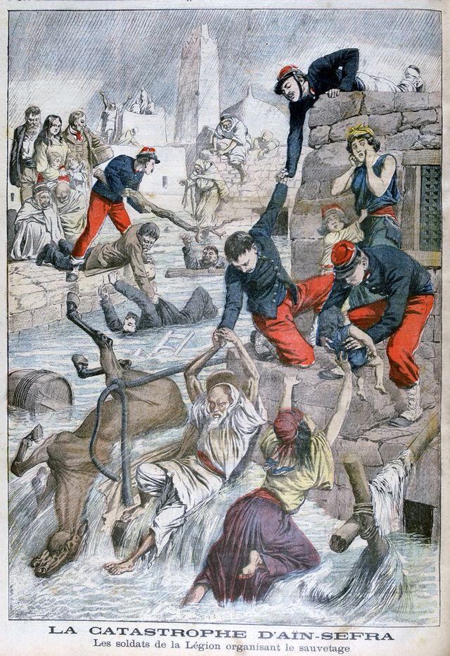 """Illustration du """"Petit Journal"""" sur la crue éclair de Ain Sfra dont Isabelle Eberhardt a été l'une des victimes"""