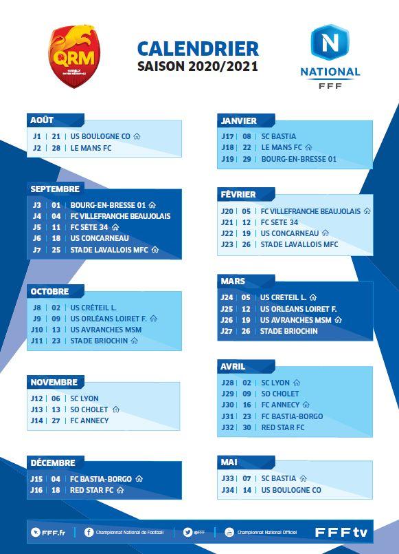 Calendrier National 2021 National : le calendrier de QRM pour la saison 2020 2021