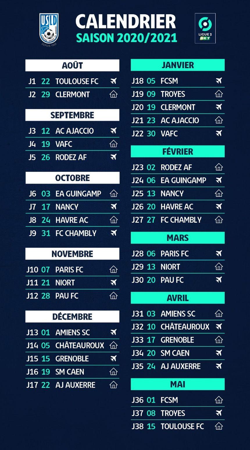Ligue 2 : le calendrier de Dunkerque pour la saison 2020 2021