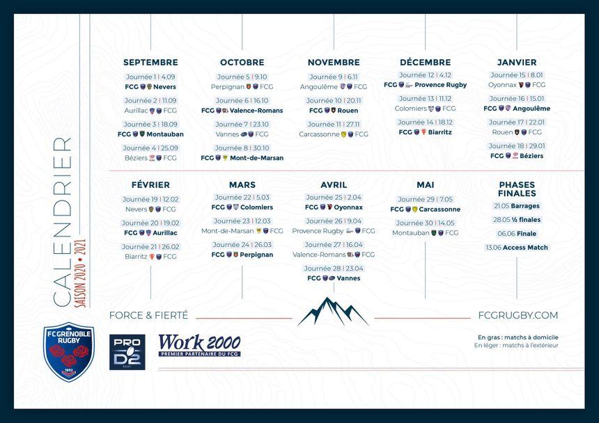 Pro D2 de rugby : découvrez le calendrier du FCG pour la saison