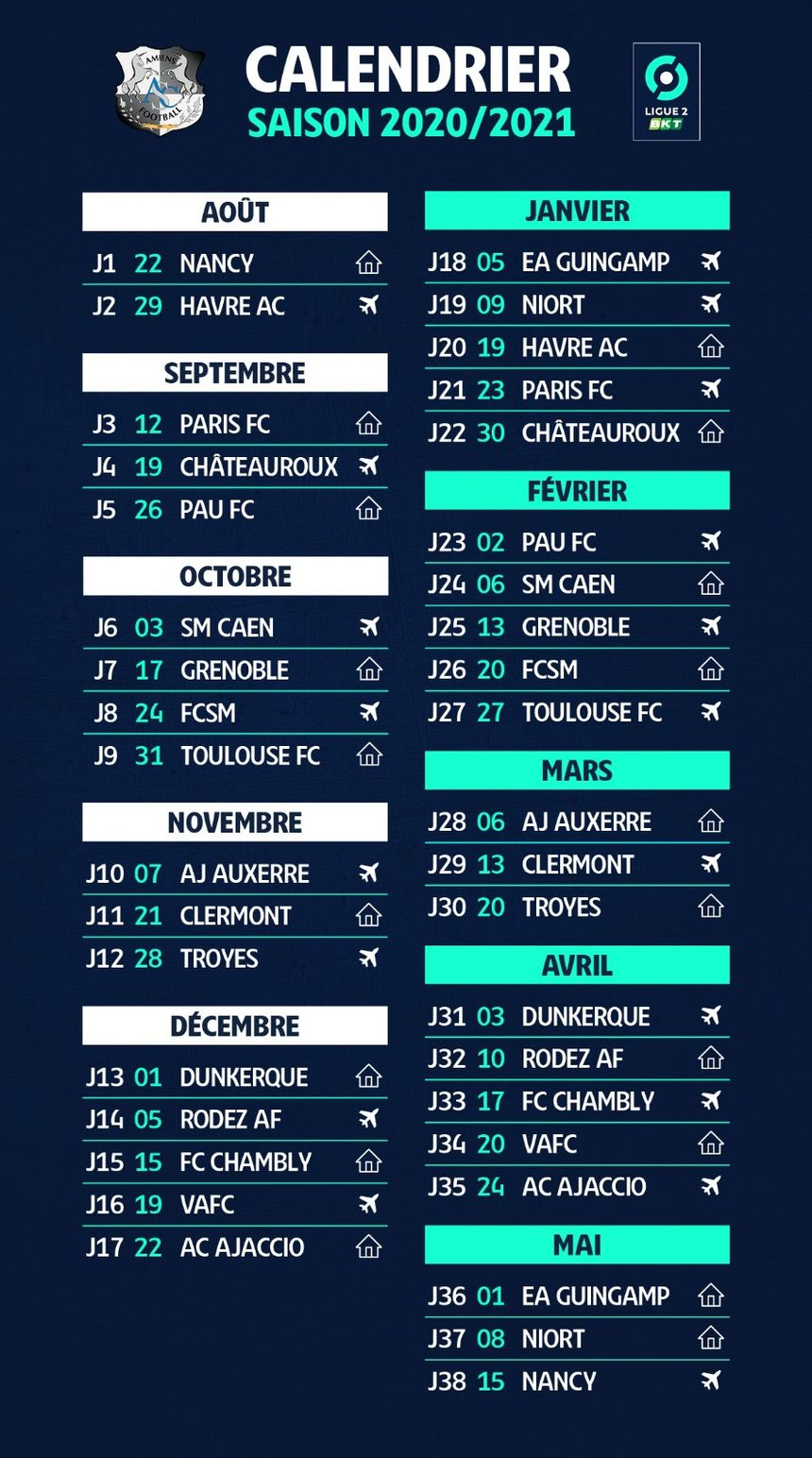 Football : le calendrier d'Amiens pour la saison 2020 2021 de