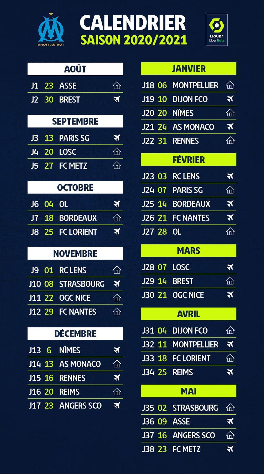 Ligue 1 : le calendrier de l'Olympique de Marseille pour la saison