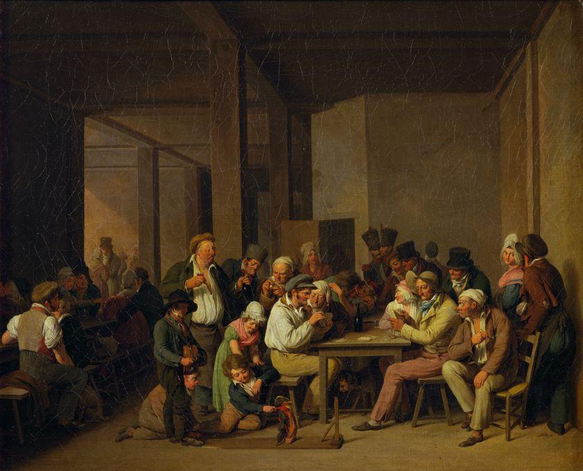 Scène dans une taverne française au XVIIIe siècle (peinture).