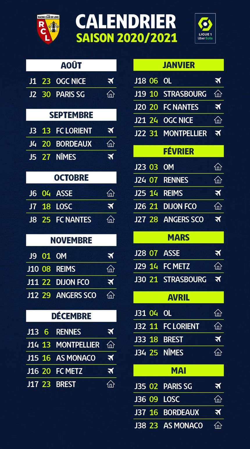Calendrier Ligue 1 2021 Pdf Ligue 1 : le calendrier du RC Lens pour la saison 2020 2021