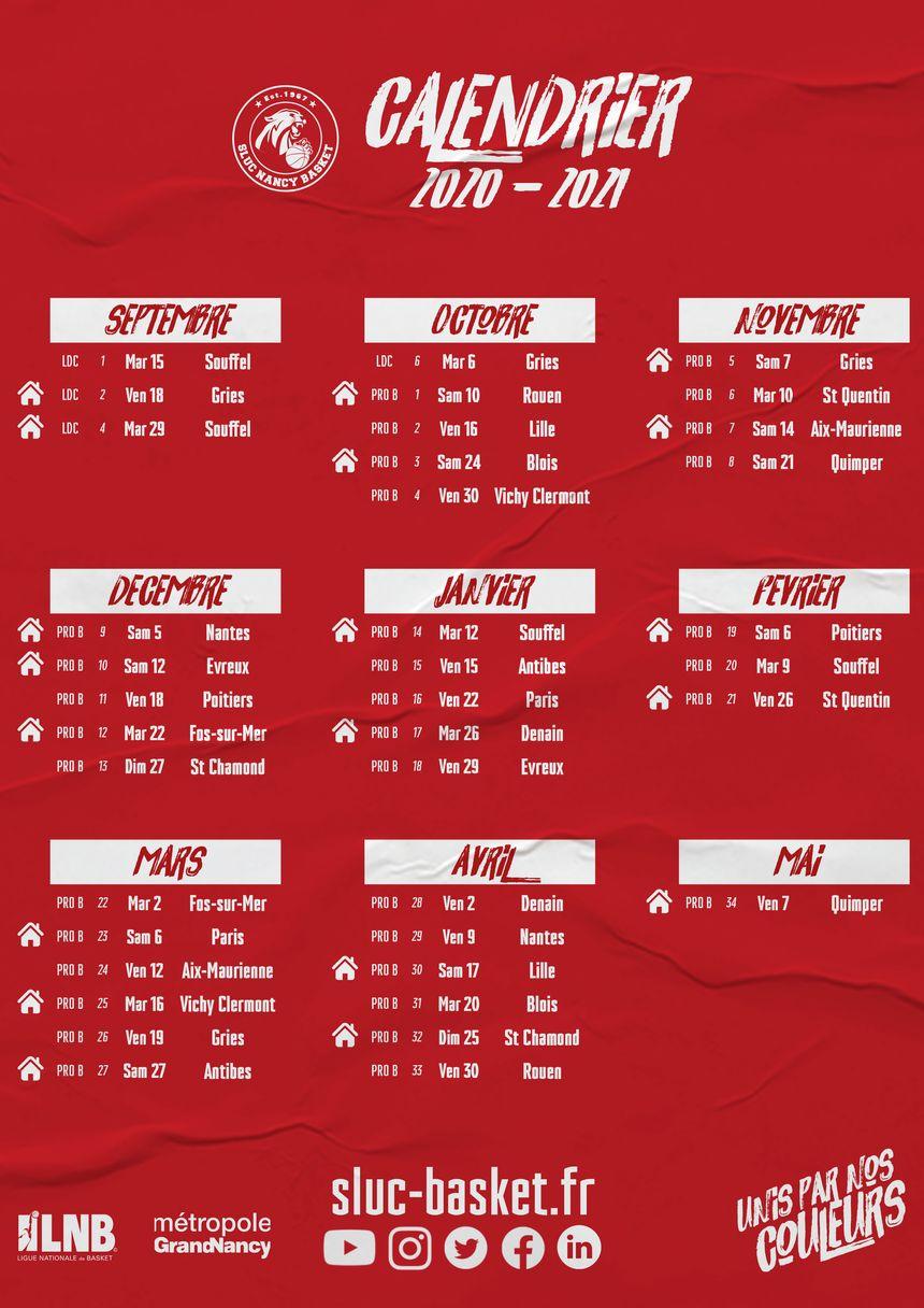 Pro B : le calendrier du Sluc Nancy Basket pour la saison 2020