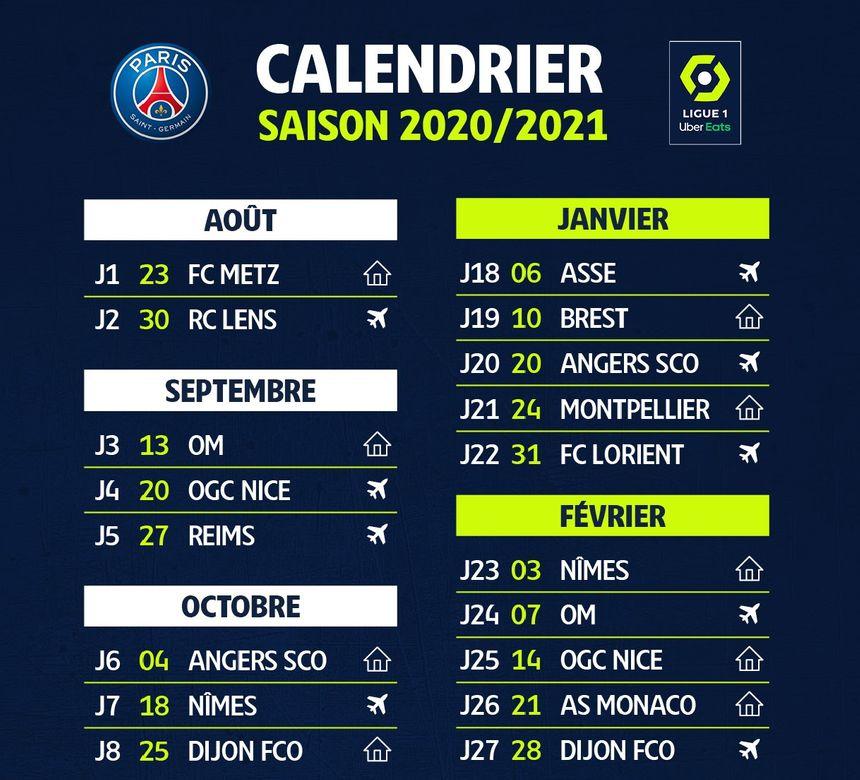Calendrier Coupe De La Ligue 2021 Ligue 1 : le calendrier du PSG pour la saison 2020 2021, journée