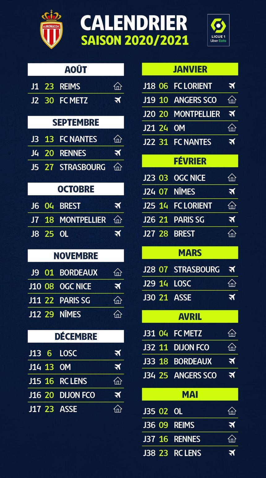 Ligue 1 : le calendrier de l'AS Monaco pour la saison 2020 2021