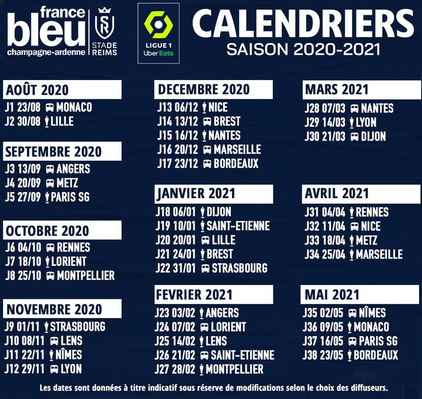 Calendrier Foot Ligue 1 2021 Ligue 1 : le calendrier du Stade de Reims pour la saison 2020 2021