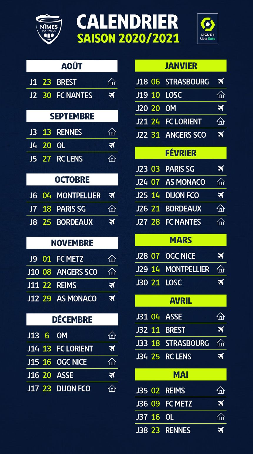 Calendrier Nimes Olympique 2021 Ligue 1 : le calendrier du Nîmes Olympique pour la saison 2020