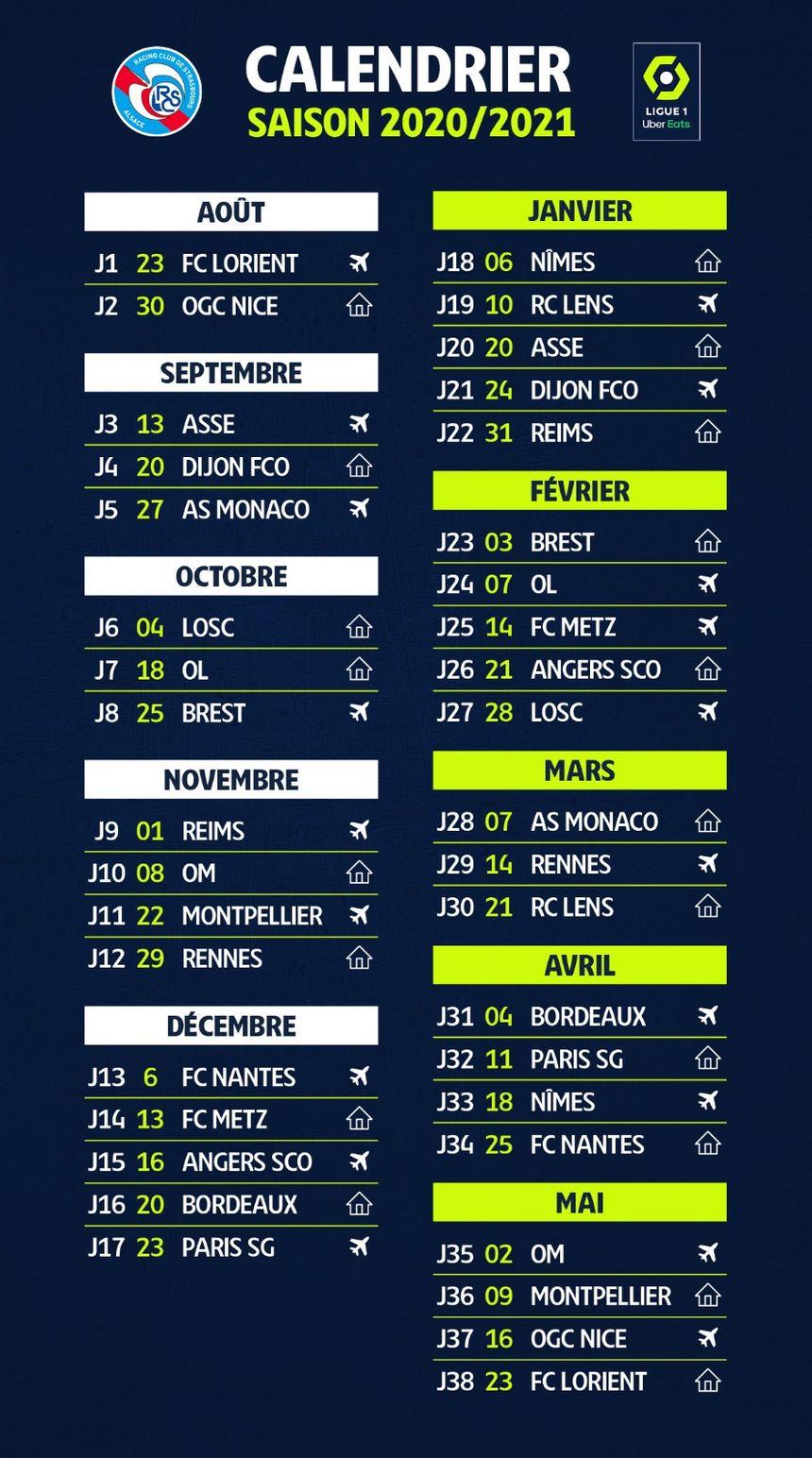 Ligue 1 : le calendrier du Racing club de Strasbourg pour la