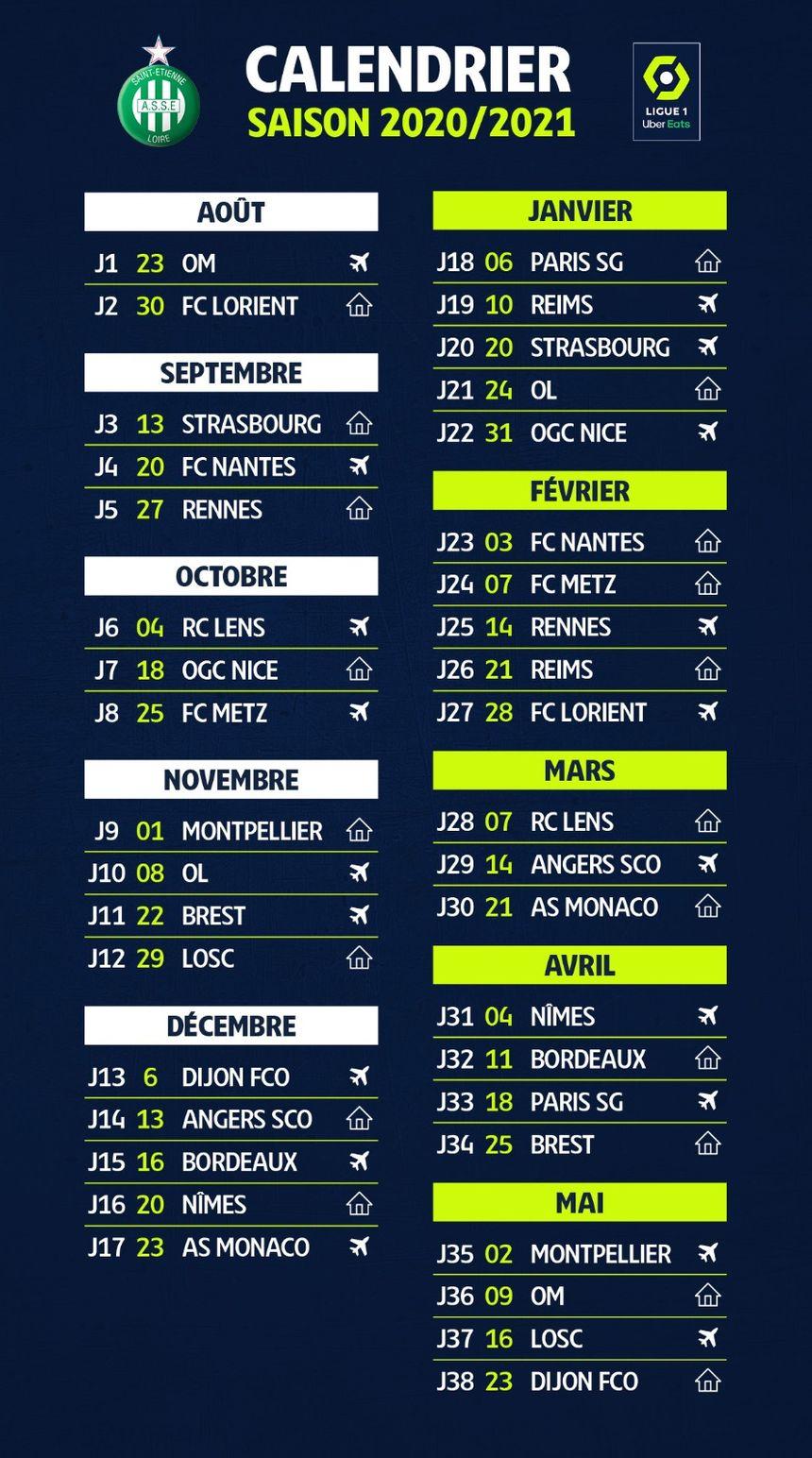 Calendrier Asse 2021 Ligue 1 : découvrez le calendrier de l'AS Saint Étienne pour la