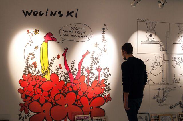 Dessin de Georges Wolinski exposé le 28 janvier 2015 à Paris