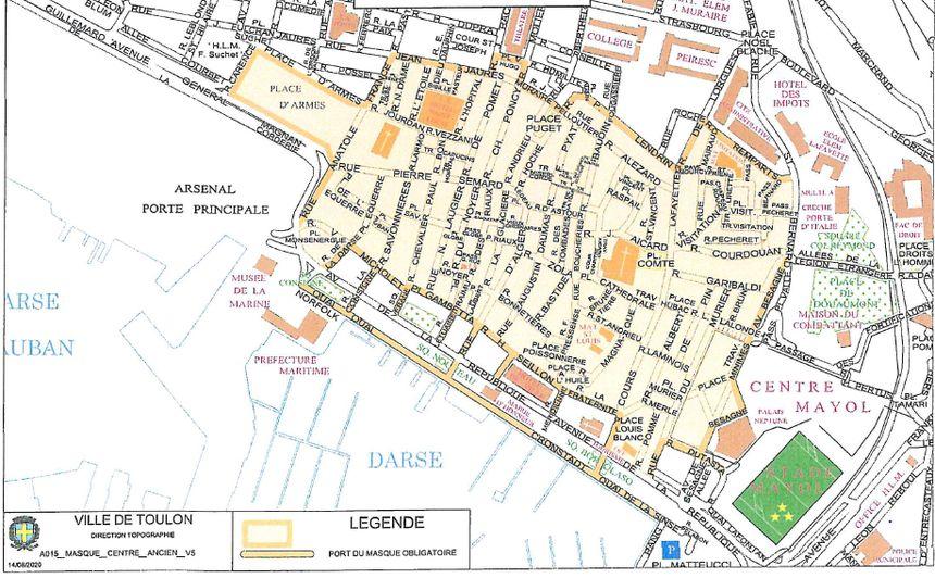 Périmètre où le port du masque sera obligatoire en extérieur à partir du lundi 17 août à Toulon