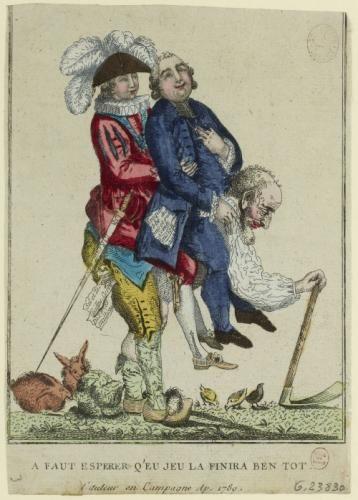 """""""Caricature sur les Trois-Ordres : Le Tiers-Etat portant sur son dos le Clergé et la Noblesse."""" 1789, auteur anonyme."""