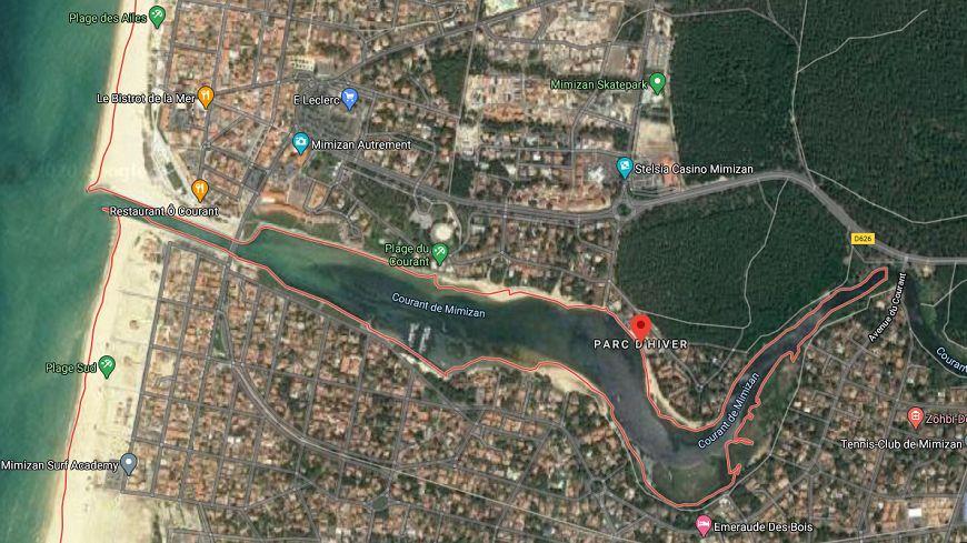 Les 17 hectares du Parc d'Hiver à Mimizan à droite de l'image